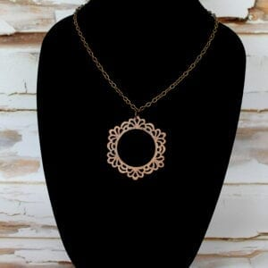 Round Wooden Pendant Necklace