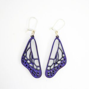 Handcrafted, wooden, purple apatura butterfly wing dangle earrings by Sensory Box Family