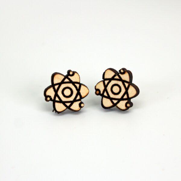 Handcrafted wooden stud earrings atom