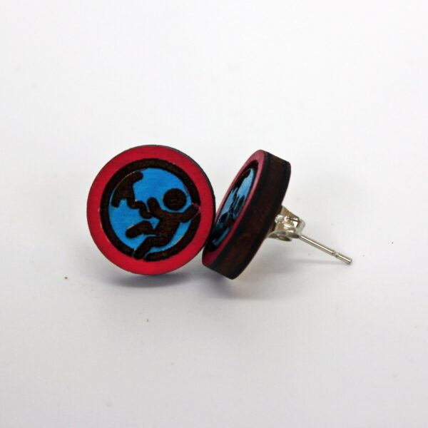 Handcrafted blue and red baby in utero wooden stud earrings