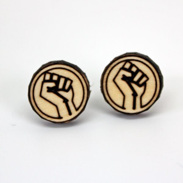 Handcrafted wooden Black Lives Matter Raised Fist stud earrings
