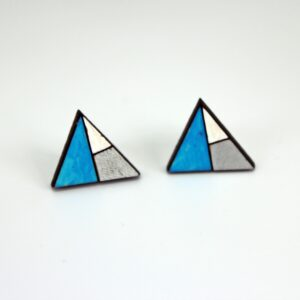 Handcrafted wooden earrings blue and white geometric triangle