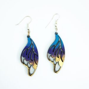 Blue, Purple, and Gold, Handcrafted, wooden, Callgo Earrings by Sensory Box Family