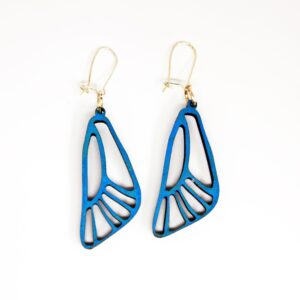 Handcrafted, wooden, blue Cassius Butterfly Wing Earrings