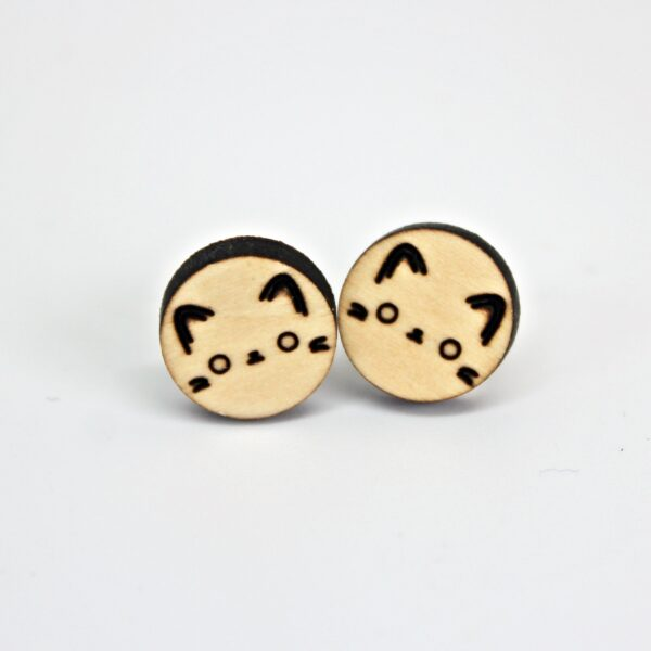 Handcrafted, wooden, round cat face stud earrings by Sensory Box Family