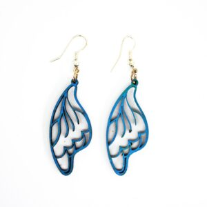 Handcrafted, wooden, Celastrina Butterfly Wing Earrings by Sensory Box Family