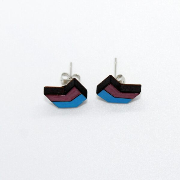 Handcrafted Wooden blue and purple chevron stud earrings