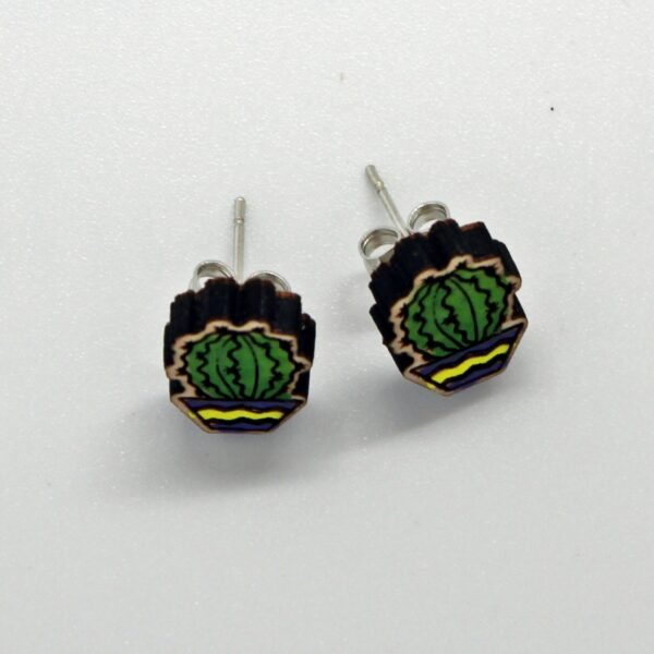 Handcrafted, wooden, Echinopsis stud earrings by Sensory Box Family