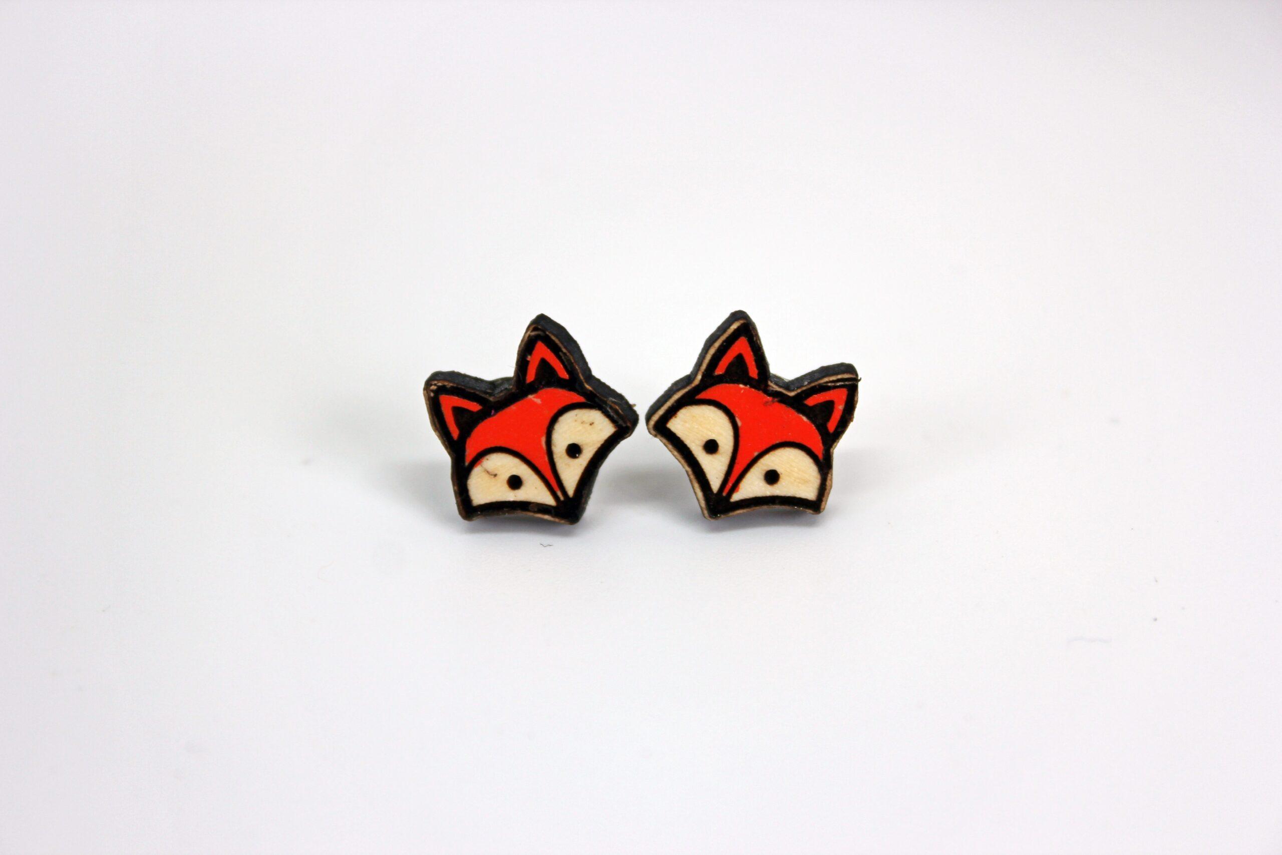 Handcrafted fox head wooden stud earrings