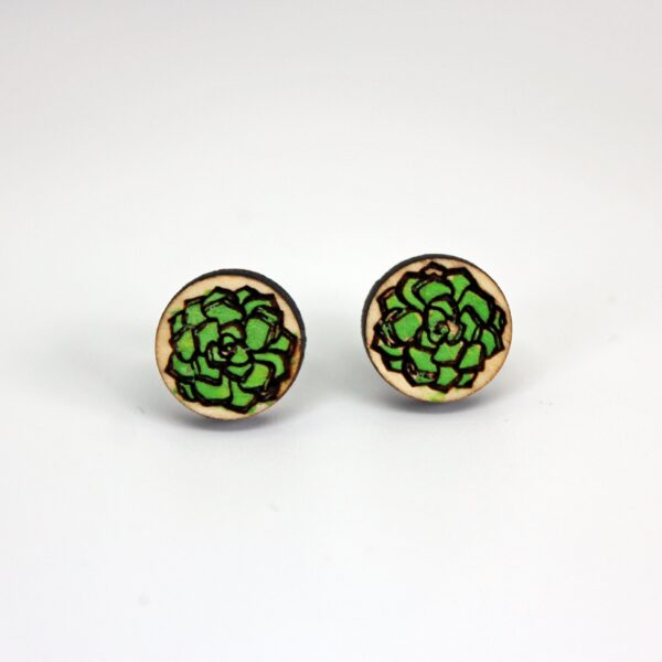 Handcrafted, wooden green echeveria stud earrings from Sensory Box Family