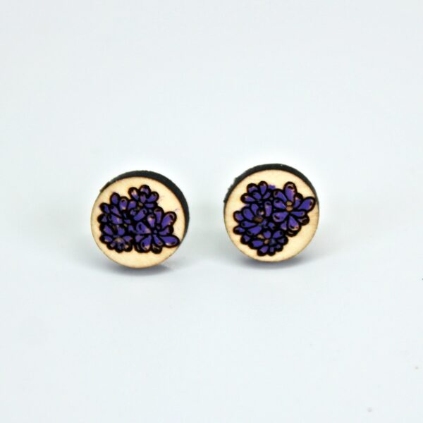 Handcrafted, wooden, Purple Crassula Stud Earrings by Sensory Box Family