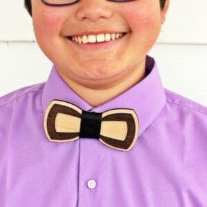 closeup of teen wearing wooden bow tie