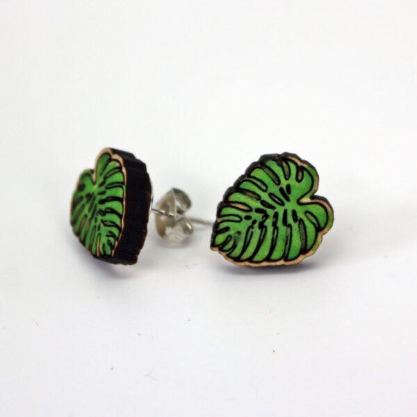 Green Monstera Leaf Wooden Stud Earrings