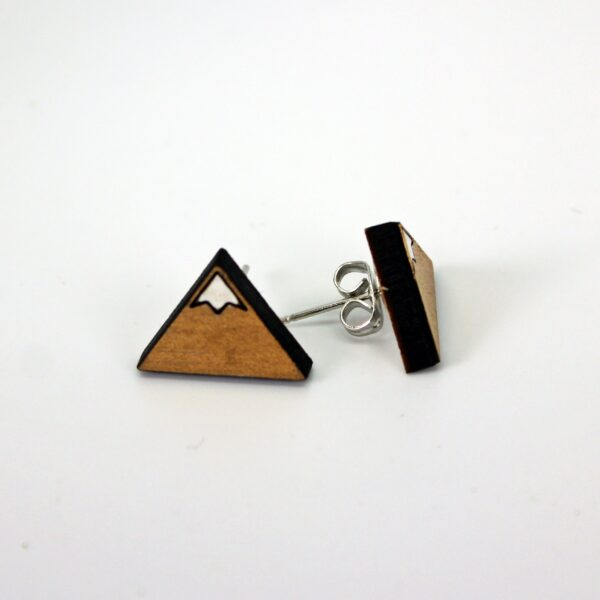 Handcrafted triangular mountain wooden stud earrings