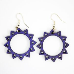 Handcrafted, wooden, purple, Oriana Earrings from Sensory Box Family