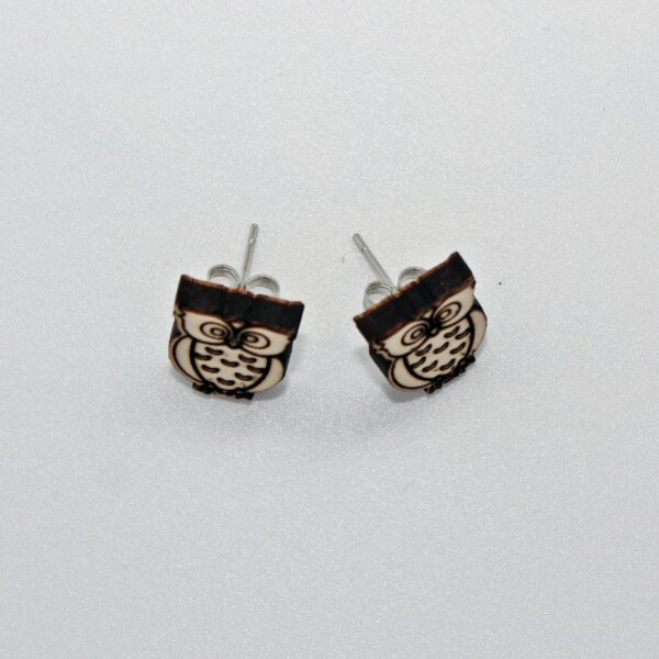 Handcrafted, wooden owl stud earrings from sensory box family