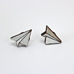Handcrafted wooden paper airplane stud earrings