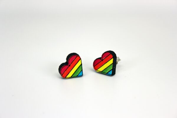 Handcrafted, wooden, Pride Heart Stud earrings by Sensory Box Family
