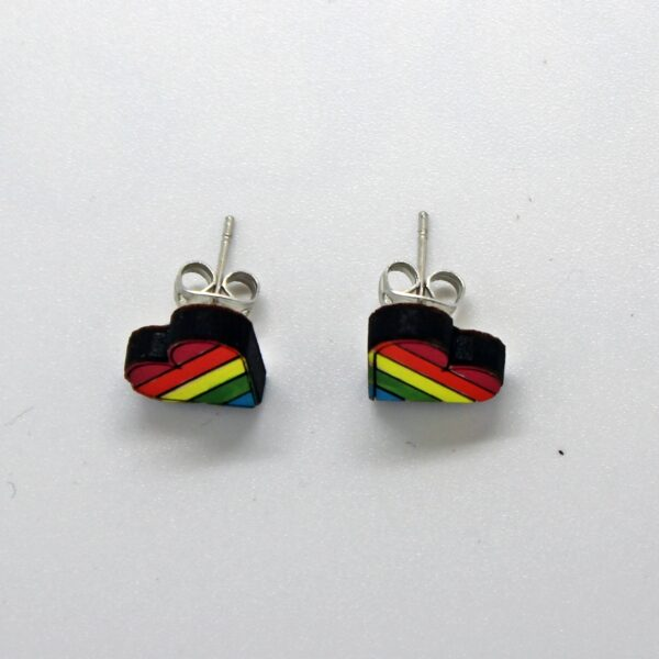 Handcrafted, wooden, pride heart earrings by sensory box family
