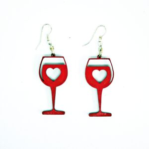 Handcrafted, wooden, Red Wine Glass Earrings by Sensory Box Family