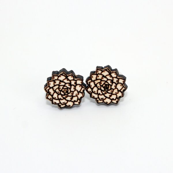 Handcrafted, wooden, Sempervivum stud earrings by sensory box family