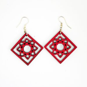 Handcrafted, wooden, red Solara Earrings by Sensory Box Family