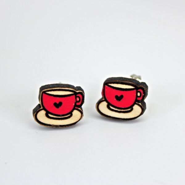 Handcrafted, wooden, Pink Teacup Stud Earrings by Sensory Box Family