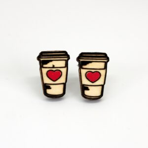Wooden Stud Earrings like a to-go coffee cup with a pink heart
