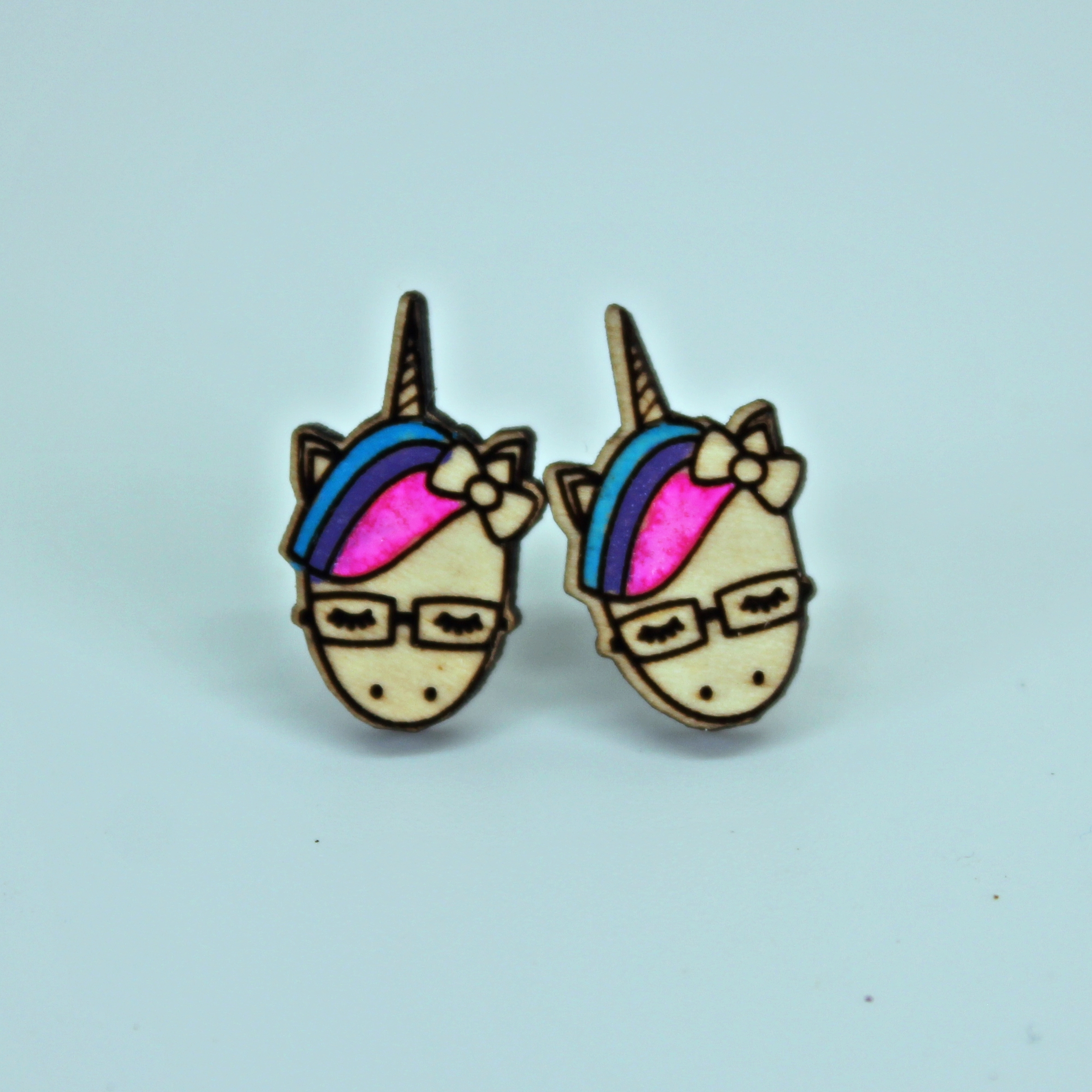 Handcrafted, wooden, Unicorn with glasses Stud Earrings by Sensory Box Family