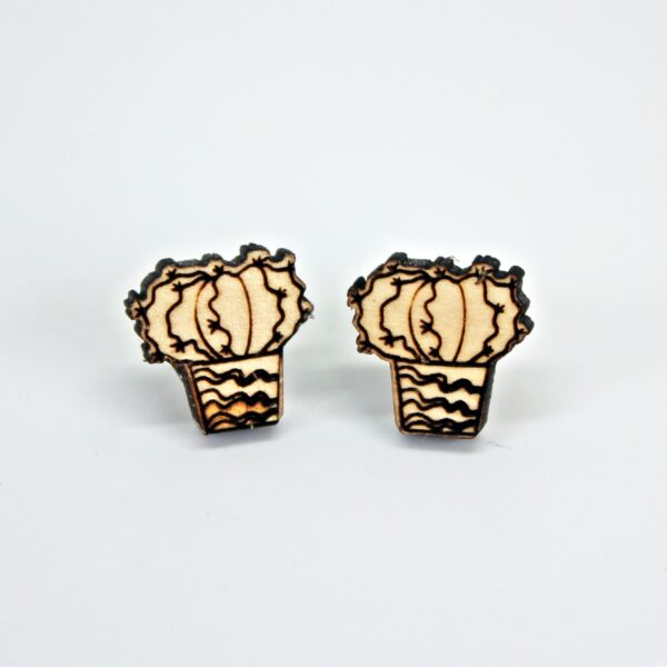 Handcrafted, wooden, urchin cactus stud earrings by Sensory Box Family
