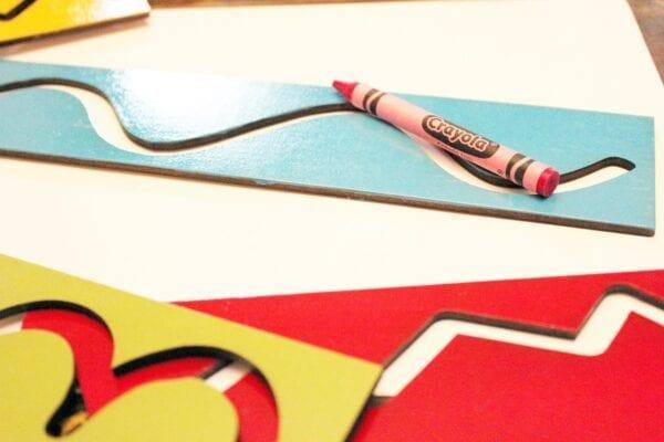 Sensory Box Family Wooden Tracing Stencils Set Closeup