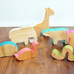 Sensory Box Family Wooden Animal Stackers