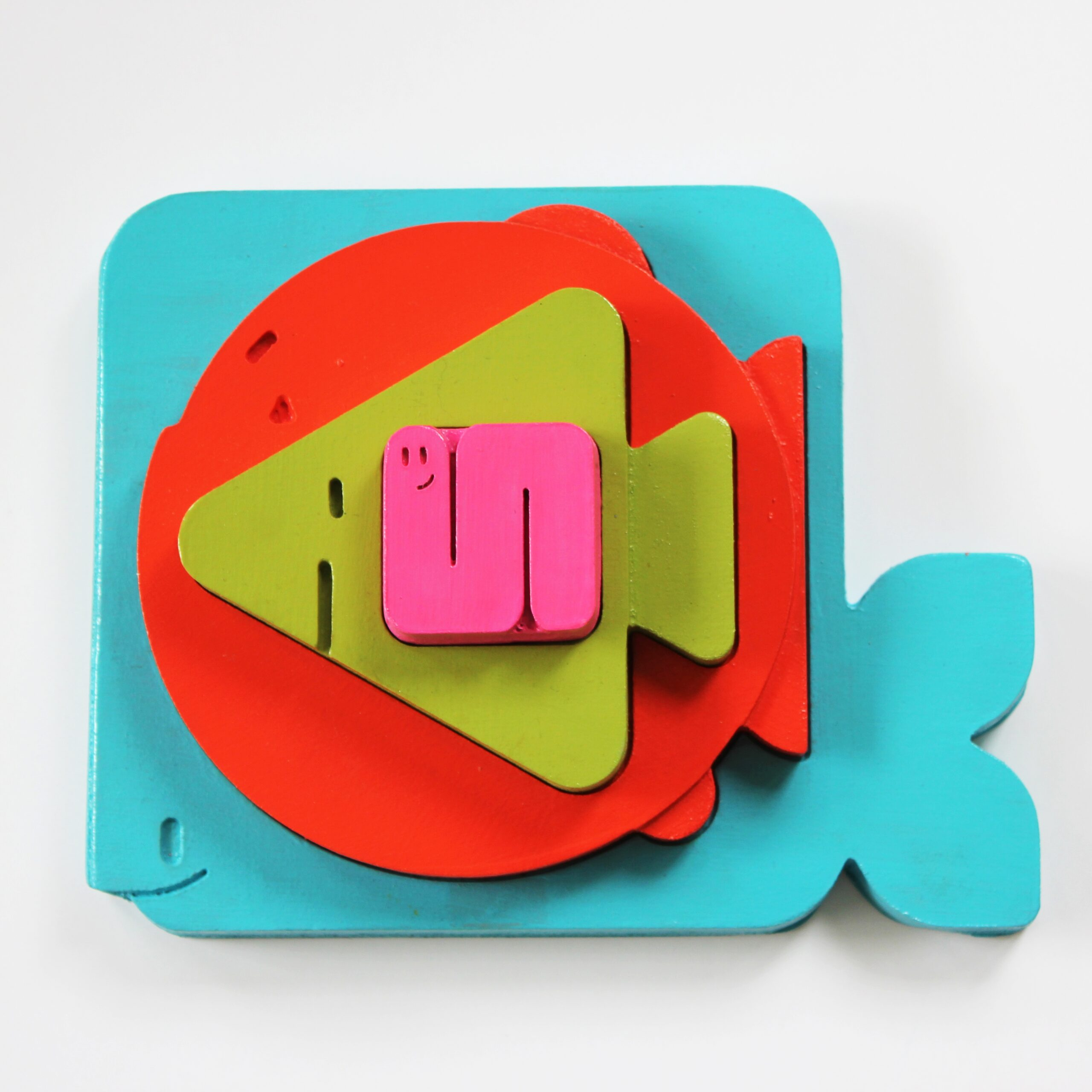 Geometric Wooden Food Chain Stacker Puzzle Piece by Sensory Box Family