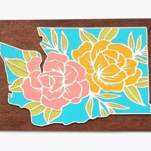 Handcrafted, handpainted, wooden floral state sign by Sensory Box Family
