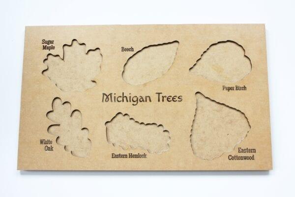 Sensory Box Family Wooden Michigan Tree Leaf Puzzle Board