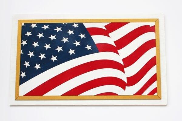 Traditional DIY Unpainted Flag Puzzle Sensory Box Family