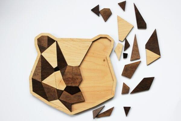Sensory Box Family Wooden Tangram Bear Puzzle half taken apart