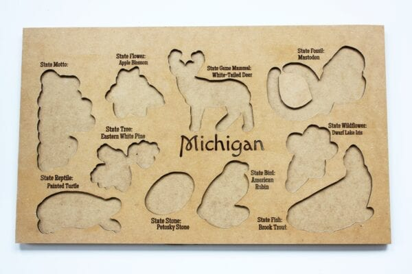 Wooden Michigan State Symbol Puzzle by Sensory Box Family